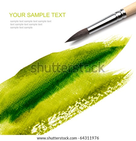 brush and paint green scratch - stock photo