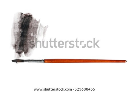 brush and paint scratch isolated on white