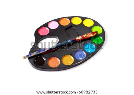 Brush and paints on white - stock photo
