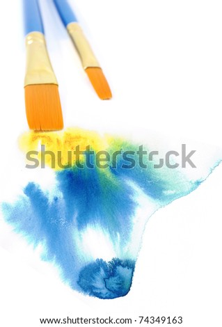 Brush and water color. - stock photo