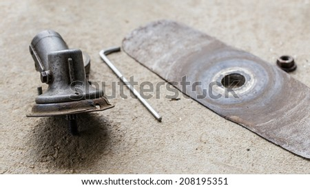 brush cutter assemble blade with tools - stock photo