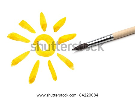 brush drawing sun - stock photo