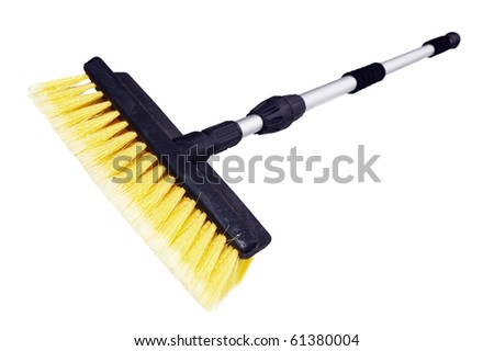 Brush for washing with the long handle - stock photo