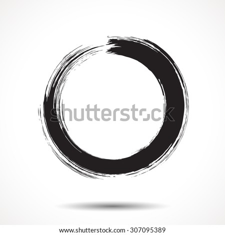 Brush painted black ink circle on white background - stock photo