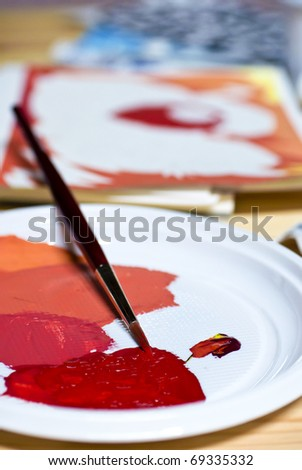 brush palette with color - stock photo