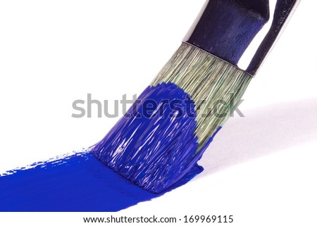 Brush stroke of blue color on a white background - stock photo