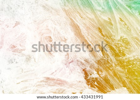 brush stroke on rainbow color background - copy space for text - stock photo