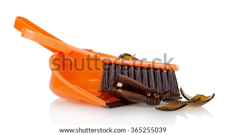 Brush the shards of glass and scoop close up isolated on white background
