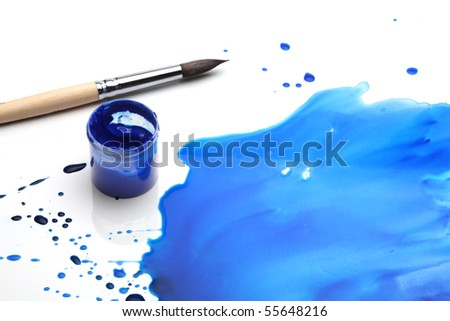 brush with abstract paint - stock photo