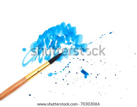 brush with blue paint stroke - stock photo