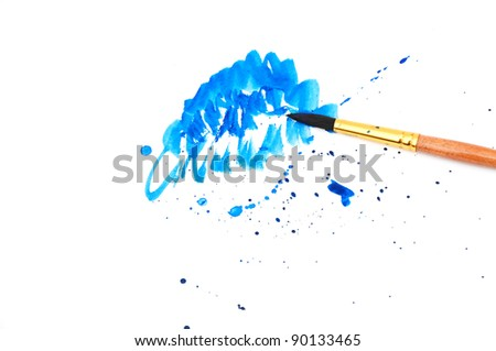 brush with blue paint stroke and stick, isolated on white - stock photo