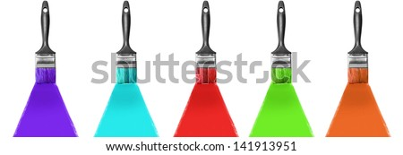 Brush with  paint - stock photo