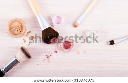Brush with powder foundations - stock photo
