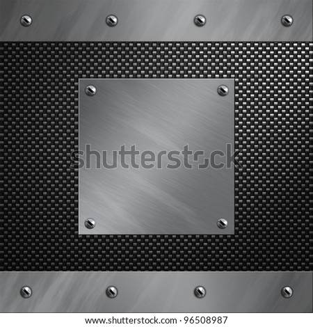 Brushed Aluminum Frame Plate Bolted Carbon Stock Illustration ...