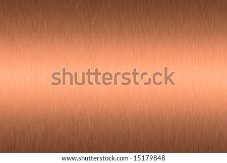 Brushed copper plate with central highlight - stock photo