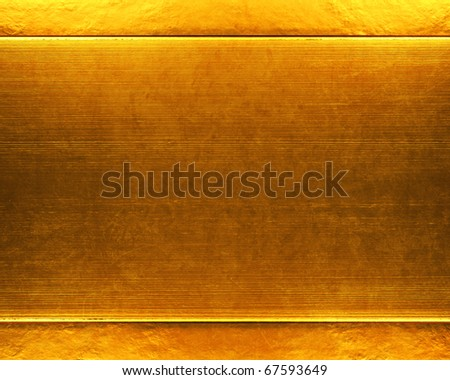 brushed gold metal plate background - stock photo