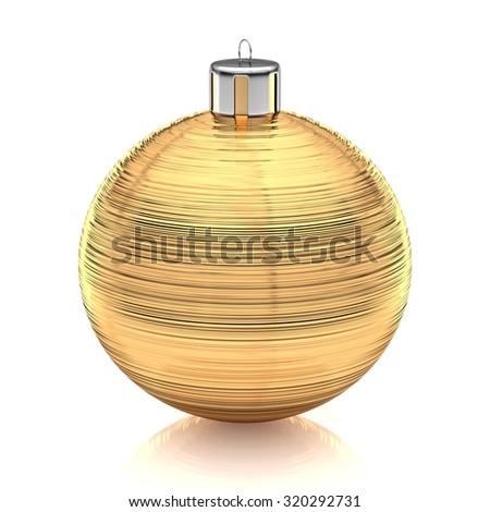 Brushed gold xmas ball against white - stock photo