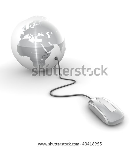 brushed metal computer mouse connected to a brushed metal globe - stock photo