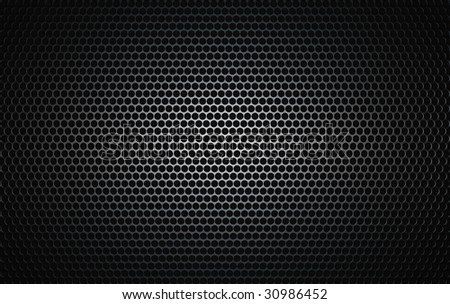 brushed metal grille as seen on speakers - stock photo