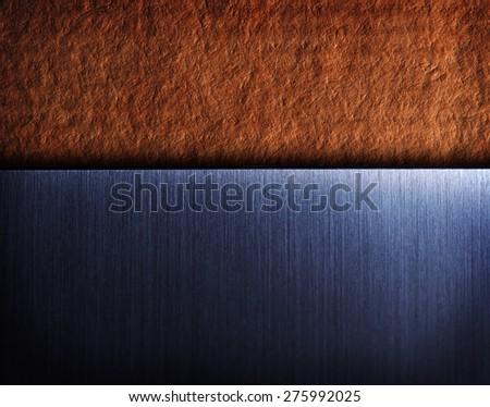 brushed metal on vintage texture background. Modern and vintage contrast background.  - stock photo