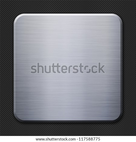 Brushed metal plate on carbon fiber background or texture - stock photo