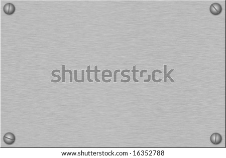 brushed metal plate with screws - stock photo