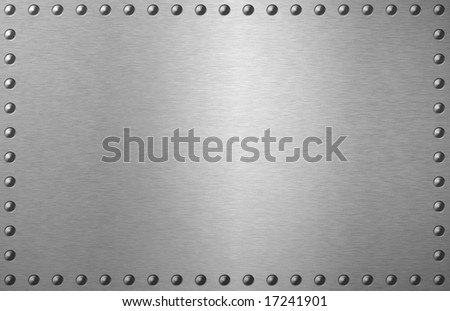 brushed metal plate with spikes on the edges - stock photo
