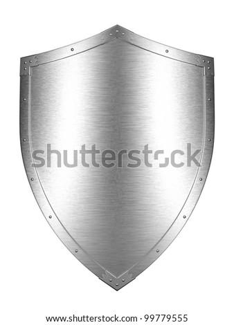 Brushed Metal shield - stock photo