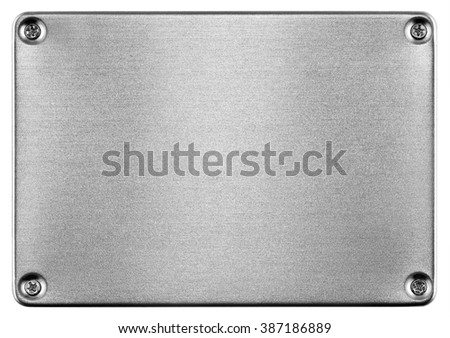 Brushed metal texture. Solid state drive (SSD) isolated on white background - stock photo