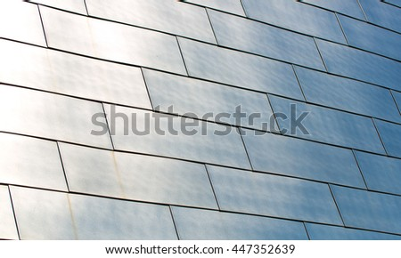 Brushed Stainless Steel panels on the BOK Center in Oklahoma - stock photo