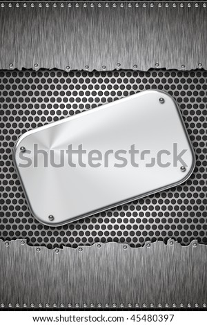 Brushed steel plate on metal background. Copy space - stock photo