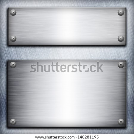 Brushed steel plate over aluminium metall background for your design - stock photo