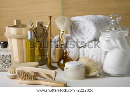 Brushes and bottles and other bathroom products - stock photo