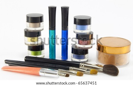 Brushes and cosmetics for daily make-up. - stock photo