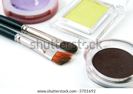 Brushes and Eye Shadows for Make Up