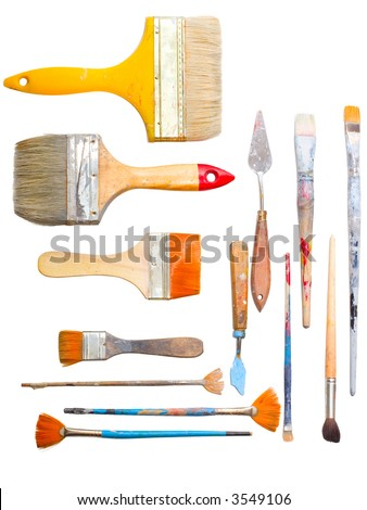 brushes and other art making tools - stock photo