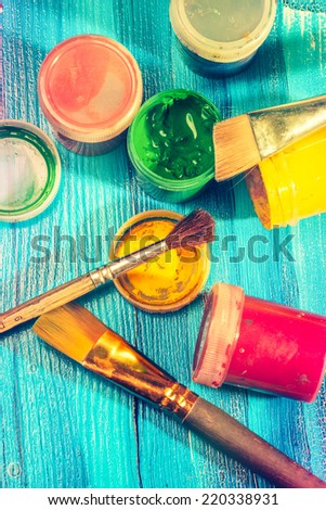 brushes and paints - stock photo