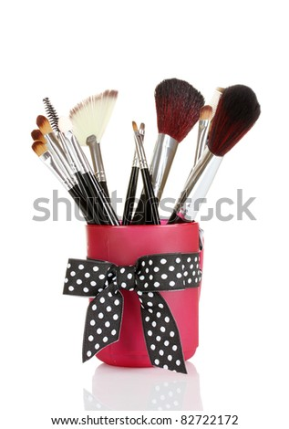 brushes for makeup isolated on white - stock photo