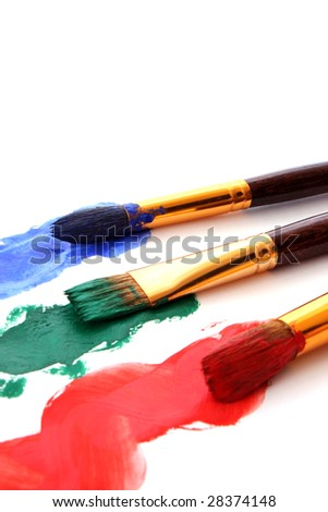 brushes in color paint