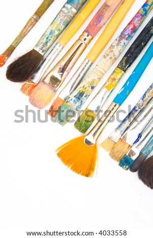brushes on white background. intresting composition - stock photo