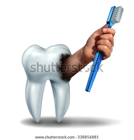 Brushing teeth concept as a human tooth with a cavity as a hand emerging out holding a generic toothbrush or tooth brush as a dental health care symbol for oral hygiene to avoid cavities on teeth.  - stock photo