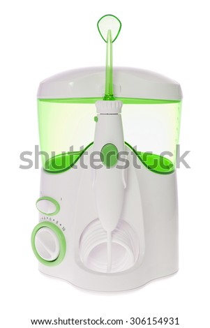 Brushing Teeth, Massage Gums. Irrigator for Oral Cavity Cleaning. Isolated
