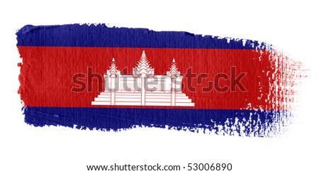Brushstroke Flag Cambodia - stock photo
