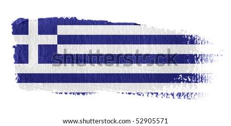 Brushstroke Flag Greece - stock photo