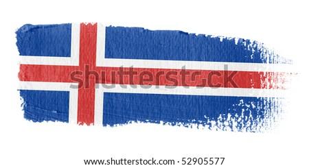 Brushstroke Flag Iceland - stock photo