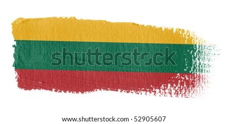 Brushstroke Flag Lithuania - stock photo