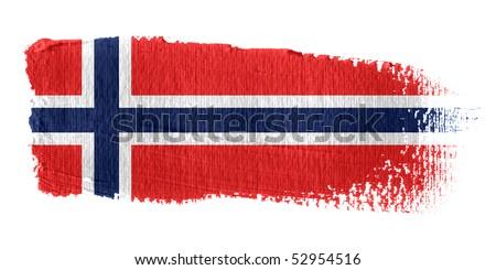Brushstroke Flag Norway - stock photo