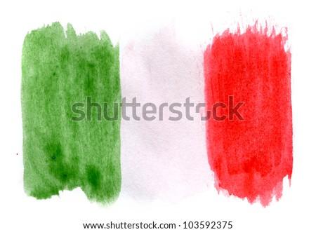 Brushstroke Flag of Italy - stock photo