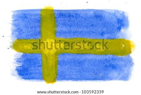 Brushstroke Flag of Sweden - stock photo