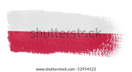 Brushstroke Flag Poland - stock photo